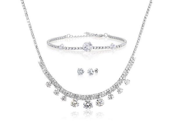 Beverly Hills Silver 3 Piece Cubic Zirconia Jewelry Set ...