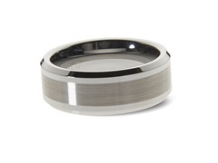 Tungsten Polished Bevel Edges Ring
