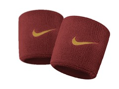 Swoosh Wristbands - Red/Gold