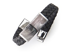 BlackJack Stainless Steel and Black Leather Bracelet