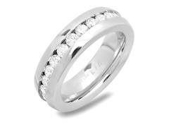 Men's Ring w/ Center Simulated Diamonds