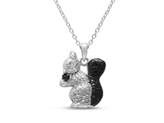 B&W Diamond Squirrel & Nut Necklace