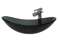 Glass Vessel Sink w/ Faucet, Nickel