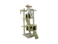 "74"" Cat Tree Condo with Ramps - Beige"
