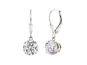 Sterling Silver White Topaz Leverback Dangle Earrings- Pick Size