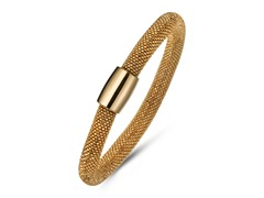 18k Gold Plated Mesh Diamond Cut Bangle