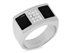 Stainless Steel Ring w/ Sim. Diamonds