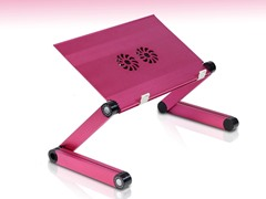Adj/Portable Laptop Table w/Fans - Pink