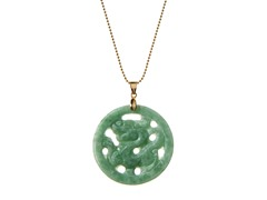 Gold Plated Sterling Silver, Jade Dragon Pendant