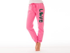 "Bottom's Up French Terry Lounge Pants ""Love"", Pink"