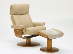 Khaki Leather Recliner w/Massage and Ottoman