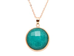 Plated Round Jade Pendant & Necklace