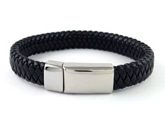 Thick Braided Leather Bracelet, Black
