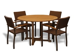 42-Inch Table, 4 Bronze Armchairs
