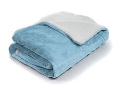 Fleece Blanket w/ Sherpa Backing- Blue