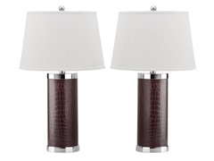 Leather Column Table Lamp Set of 2
