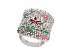 Rhodium Plated Pink/Red Flower Square Ring
