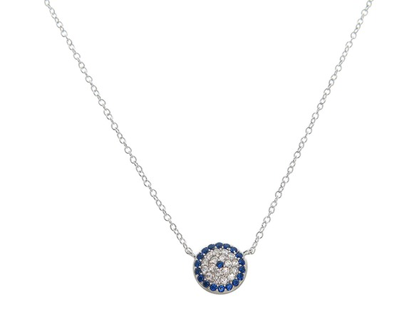 Solid Sterling Silver Pave Evil Eye Disc Necklace AC159302A
