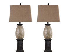 Quoise Limestone Column Lamp - Set of 2