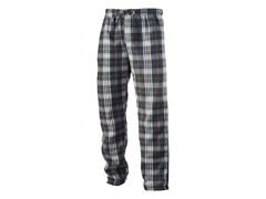 Men's Fleece Loungepants, Blk/Brwn Plaid