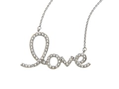 "18kt White Gold Plated ""LOVE"" Necklace"