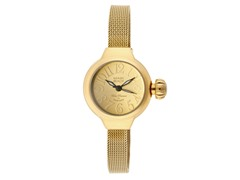 Stainless Steel Round Watch, Gold