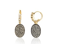 Grey Druzy Crystal CZ Round Drop Huggie Earrings