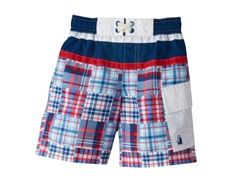 Swim Trunk - Blue Plaid (4-7)