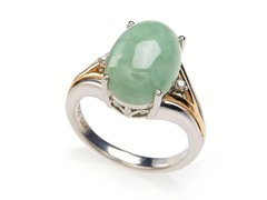 Sterling Silver and 14kt Gold Jade and Diamond Ring