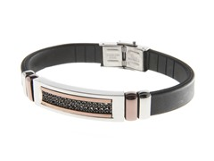 Rubber & Steel Black Sim. Diamond Bracelet