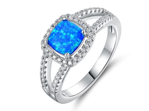 Cushion Cut Opal and Crystal Ring Fashion
