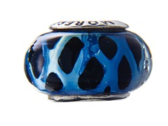 Black & Blue Basketweave Glass Bead