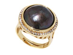 Dark Green Mabe Pearl CZ Adjustable Ring