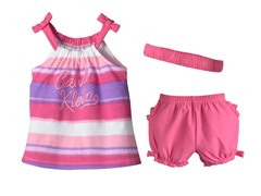Pink Stripe 3-Pc Short Set (12-24M)