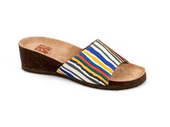 Lea Slide Wedge Sandal, Blue Stripe