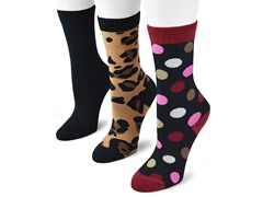 "MUK LUKS ® Women's ""Fun"" 3 Pair-Pack Crew Socks"