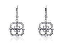Riccova Retro CZ Filigree Open Flower Dangle Earring