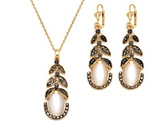 Black/White Swarovski Elements Vine Drop Set