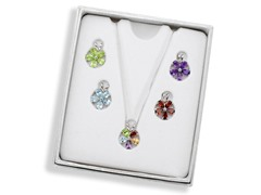 Sterling Silver 5-Piece Gem Flower Pendant w/ Chain