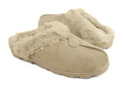 Women's Faux Suede Clog with Fur Lining, Natural
