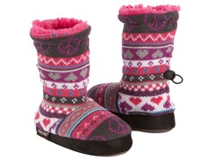 Peace Sign Fur Lined Slipper Boots