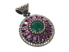 SS Flower Dyed Emerald & Ruby Genuine Semi-Precious Gemstone CZ Pendant