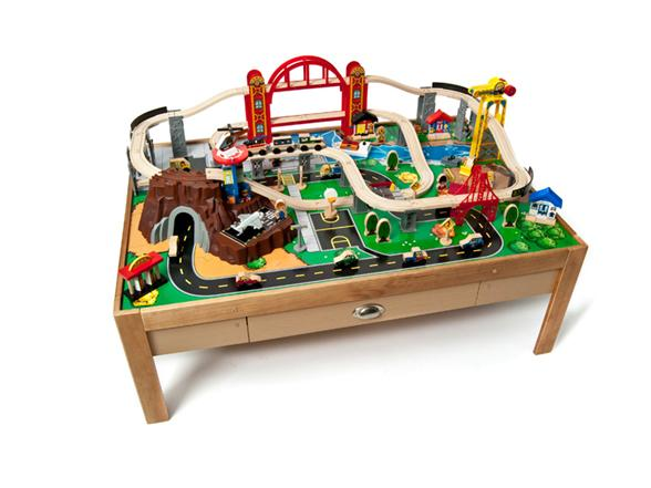 Kidkraft city set and train table kids toys for 100 piece mountain train set and wooden activity table