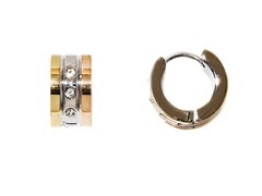 Stainless Steel Three-tone 3-CZ Huggie