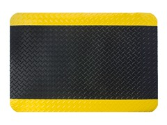 5' Indoor Diamond Mat, Black with Yellow