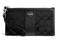 Coach Legacy Signature Zippy Wallet, Silver/Black