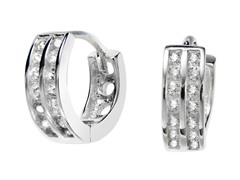 Sterling Silver Dual Row Simulated Diamond Huggies