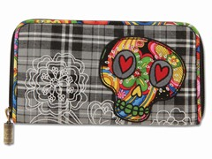 Boho Sugar Skull Wallet, Black Plaid