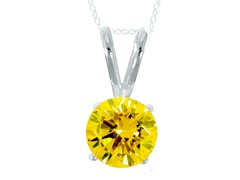 "SS Yellow .75cttw Pendant 18"" chain"