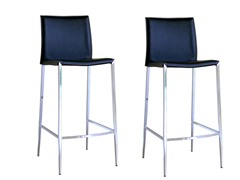 Black Holofernes Leather Barstool S/2
